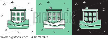 Set House Flood Icon Isolated On White And Green, Black Background. Home Flooding Under Water. Insur