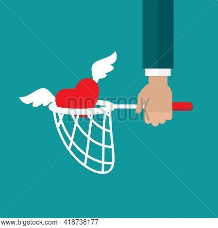 Butterfly Net With Heart. Catch, Hunt, Chase Symbol. Achieve Love Or Dreams Concept. Vector Illustra
