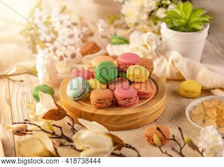 Macarons In A Variety Of Colours, Still Life Composition