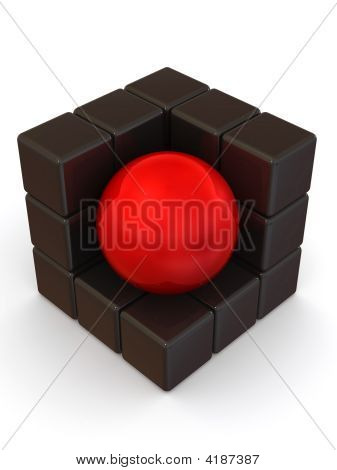 Boxes and sphere. Abstract image. 3d Very beautiful three-dimensional illustration figure. poster