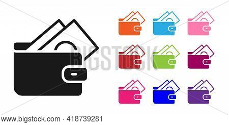 Black Wallet With Stacks Paper Money Cash Icon Isolated On White Background. Purse Icon. Cash Saving
