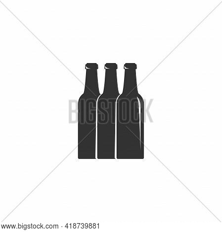 Beer Or Ale Bottle With Bubbles. Bar, Pub, Brew Symbol. Alcohol, Drinks Shop, Stor, Menu Item Icon.