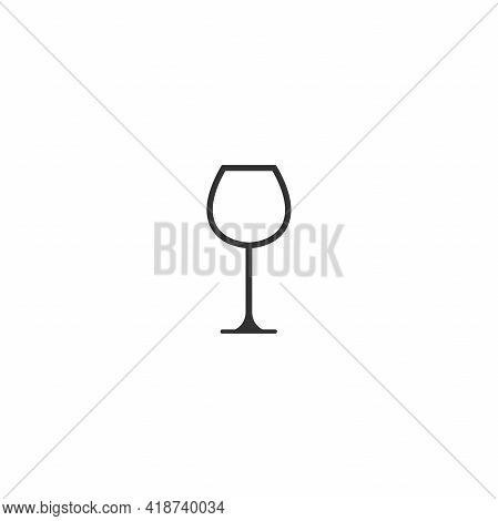 Glass For Red Wine Icon. Mulled Wine Icon Flat. Black Simple Pictogram Isolated On White Background.