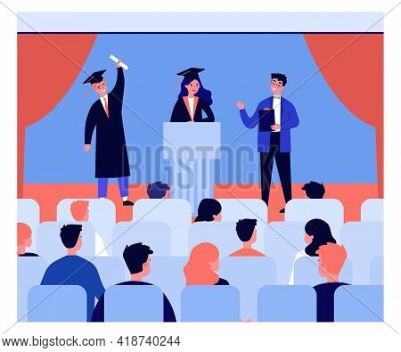 Graduation Ceremony Flat Vector Illustration. Cartoon Students In Academic Dress, Cap And Gown, Grad