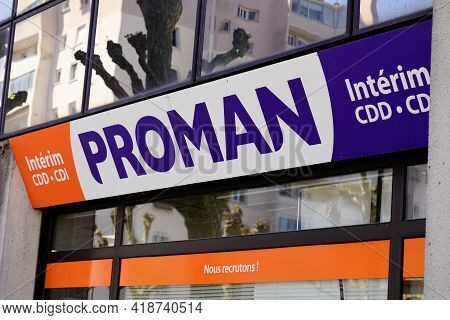 Bordeaux , Aquitaine France - 04 22 2021 : Proman Sign Text And Brand Logo On Wall Facade Interim Te