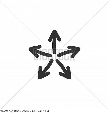 Five Black Hand Drawn Arrows Point Out From The Center . Expand Arrows Icon. Outward Directions Icon