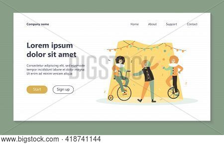 Clowns Performing On Circus Arena, Riding Bike, Juggler Balancing On Monocycle. Vector Illustration