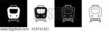 Set Train Icon Isolated On Black And White Background. Public Transportation Symbol. Subway Train Tr