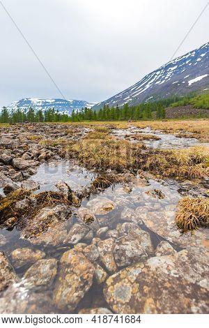 Melt Water On Putorana Plateau, Taimyr, Russia