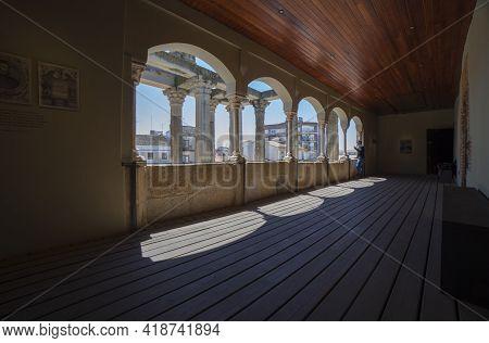 Merida, Spain - April 17th, 2021: Visitor At Temple Of Diana Interpretation Centre, Merida, Extremad
