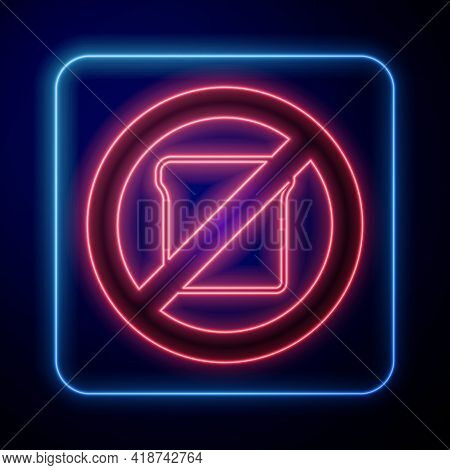 Glowing Neon Gluten Free Grain Icon Isolated Glowing Neon Background. No Wheat Sign. Food Intoleranc