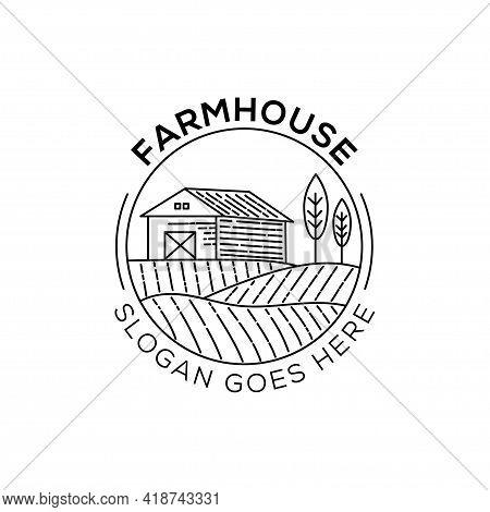 Line Art Farm House Logo Design Illustration. Landscape Vector For Nature Farm Products. Outline Log