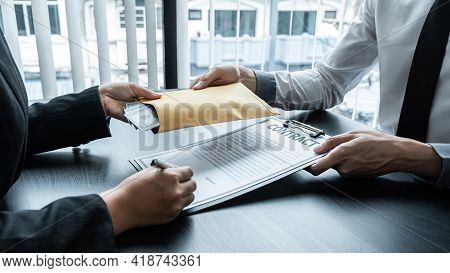 Dishonest Cheating In Business Illegal Money, Business Woman Giving Bribe Money In Business People T