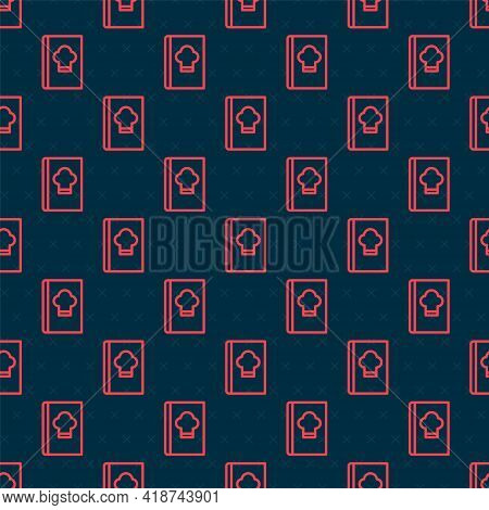 Red Line Cookbook Icon Isolated Seamless Pattern On Black Background. Cooking Book Icon. Recipe Book