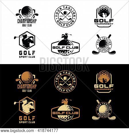 Set Of Golf Club Sport Icons And Badges. Vector Symbols Of Golf Player, Equipment And Game Items, Mo