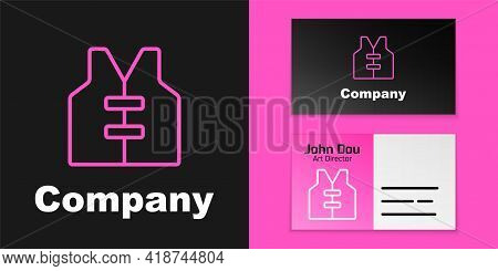 Pink Line Life Jacket Icon Isolated On Black Background. Life Vest Icon. Extreme Sport. Sport Equipm