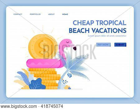 Travel Website With The Theme Of Cheap Tropical Beach Vacation. Enjoy Holiday In Excotic Destination
