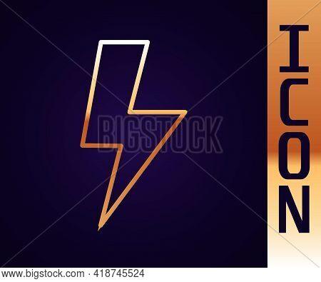 Gold Line Lightning Bolt Icon Isolated On Black Background. Flash Sign. Charge Flash Icon. Thunder B