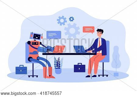 Robot And Business Man Working At Computers Together Vector Illustration. Digital Technology Of Futu