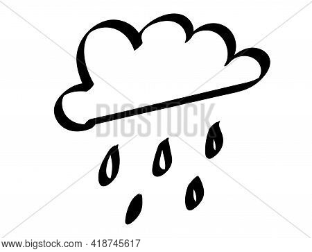 Cloud With Raindrops Icon Hand Drawing Doodle Illustration Illustration. Weather Element.