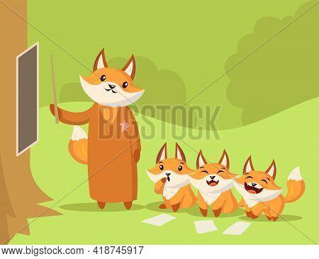 Cartoon Fox Teacher Giving Lesson To Little Foxes. Flat Vector Illustration. Three Cute Little Fox K