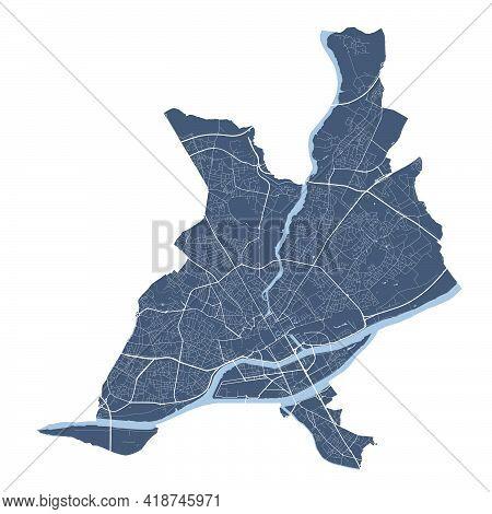Nantes Map. Detailed Vector Map Of Nantes City Administrative Area. Cityscape Poster Metropolitan Ar