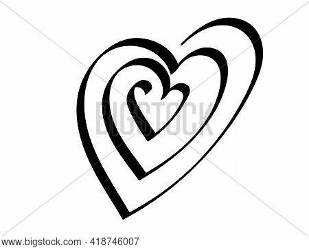 One Line Spiral Heart Handdraw Doodle. Vector Element.