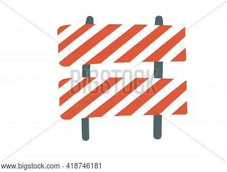 Road Repair. Under Construction Information Sign. Special Equipment For Fencing The Way. Maintenance