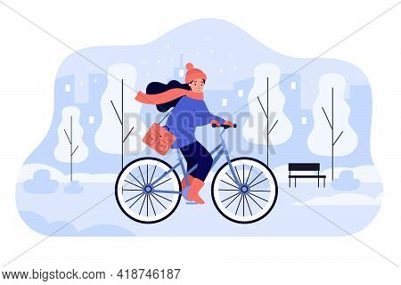 Happy Girl Riding Bicycle In Winter Park. Young Female Cartoon Cyclist On Bike Cycling Along Street