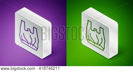 Isometric Line Say No To Plastic Bags Poster Icon Isolated On Purple And Green Background. Disposabl