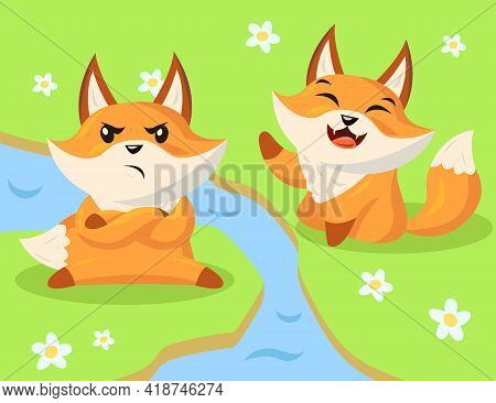 Angry And Happy Cartoon Fox Characters. Flat Vector Illustration. Two Wild Little Funny Foxes Sittin