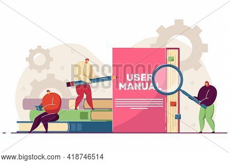 Tiny People Reading User Manual. Woman And Man With Magnifier And Pencil Using Guidebook Or Instruct