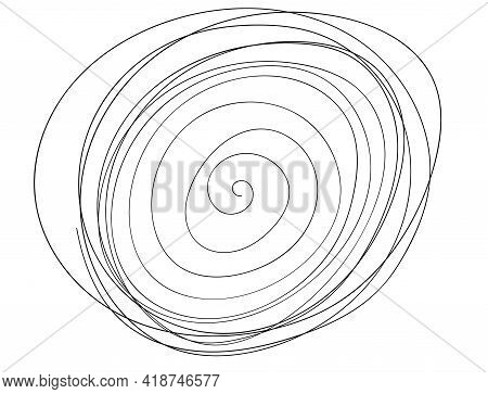 Abstract Round Brush Stroke. Spiral Doodle Handdraw Vector Element