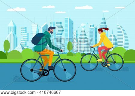 Millennial Girl And Boy On Bike In City Public Park. Urban Outdoor Eco-friendly Transport. Young Peo