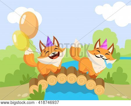 Two Cartoon Birthday Foxes Standing On Bridge. Flat Vector Illustration. Happy Little Foxes With Bir