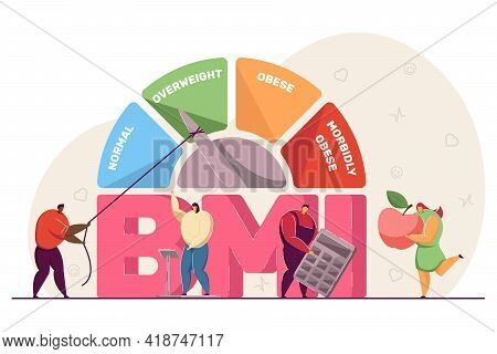 Body Mass Index Medical Chart. Tiny People On Scales, With Apple And Calculator, Diet And Fitness Co
