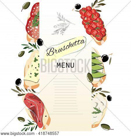 Bruschetta Menu For Restaurants With Different Bruschetta And Olive. Vector Template.