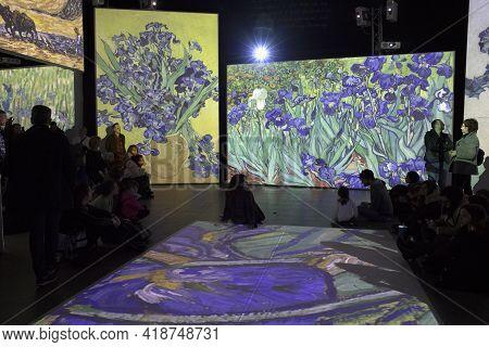 Lugano / Switzerland - December 21, 2019: Multimedia Exhibition By Vincent Van Gogh, Lugano, Switzer