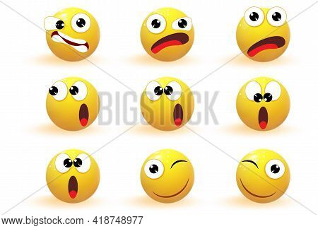 Set Of Yellow Emotions. Emoji. Emotion Icons Vector Collection. Chat Elements