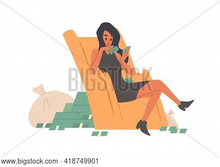 Happy Rich And Wealthy Woman Counting Cash. Young Lady With Money Stacks And Bags. Wealth, Abundance