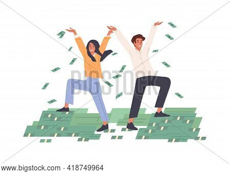 Happy Rich People Throwing Money In Air, Making Dollar Rain. Successful Couple And Piles Of Cash. Pr