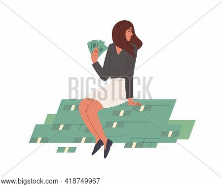 Happy Rich Woman Sitting On Stack Of Money With Cash In Hands. Young Millionaire On Dollar Heap. Wea