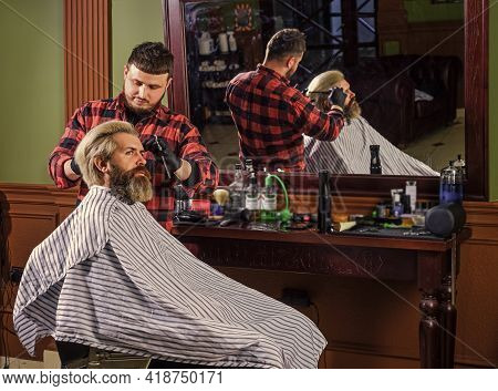 Styling Hair. Near Impossible To Modify Proceedings. Hipster Getting Haircut. Man With Dyed Hair. Ba
