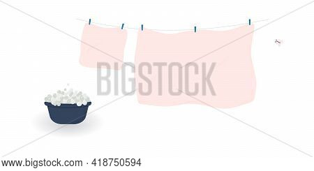 Concept Of Washing And Drying: Washed Cute Soft Pink Bed Sheet And Pillowcase With Butterfly.linen H