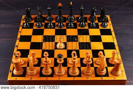 Chessboard Top View And First Turn Sports Game