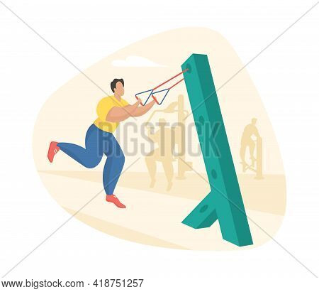 Outdoor Fitness Equipment Flat Illustration. Male Cartoon Character Doing Workout Exercises Using Re