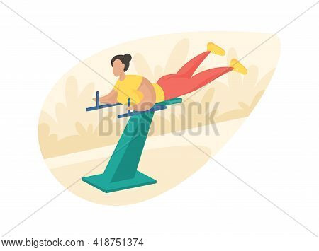 Outdoor Fitness Equipment Flat Illustration. Female Cartoon Character Doing Workout Press Exercises