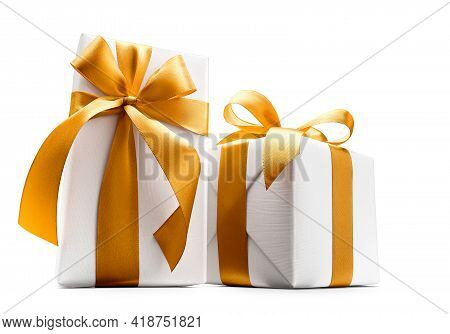 Two White Gift Box With Gold Color Ribbon Over White Background