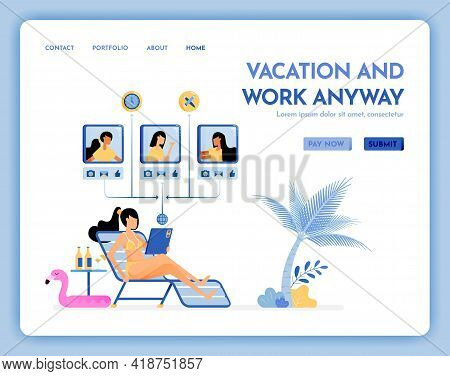 Travel Website With The Theme Of Vacation And Work Anyway. Virtual Meeting On Beach With Internet Se