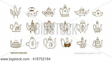 Teapots Outline Icons Set. Line Art With Teapots Design Elements In Vintage Style. Doodle Vector Ill